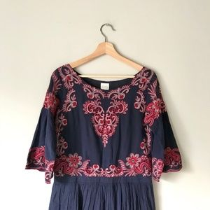 Anthropologie TRYB Embroidered Boho Dress Navy S
